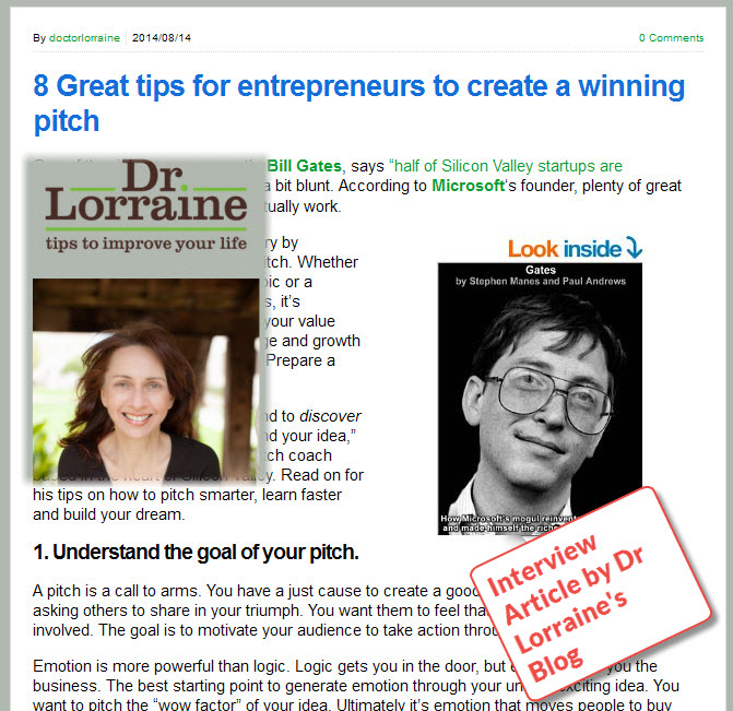8 Great Pitch Tips Article by DrLorrain.net