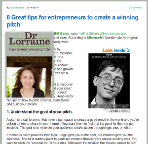 Great Pitch Tips Featured on DrLorraine.net